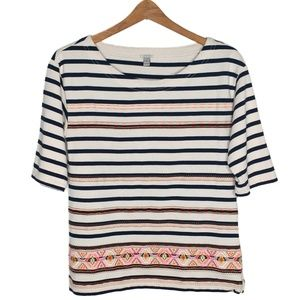 J. Crew Striped Neon Embroidered Aztec Top Small